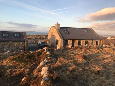 Photo for Delightful detached stone house on 5 acres beside Aughrus beach, panoramic views