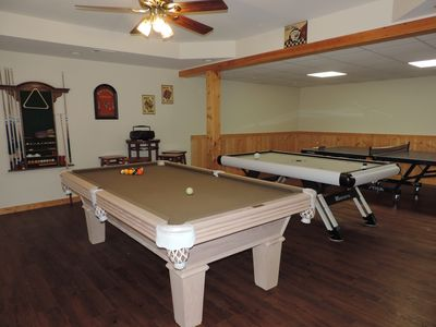 Pool Table, Air Hockey & Ping Pong Table in the Game Room
