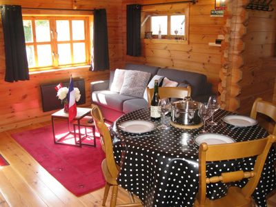 Photo for seaside, new wooden chalet with tandem
