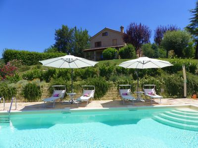 Choose sun or shade by our stunning pool!