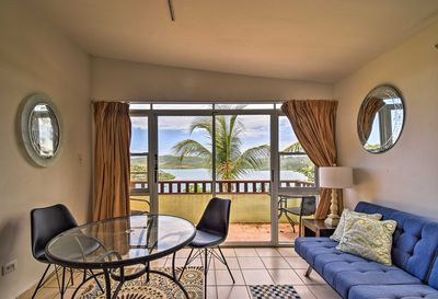 Enjoy stunning views of the bay from the glass patio doors!