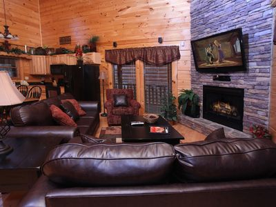 Photo for GORGEOUS 2 MBR/2BA Log Cabin,  Hot Tub