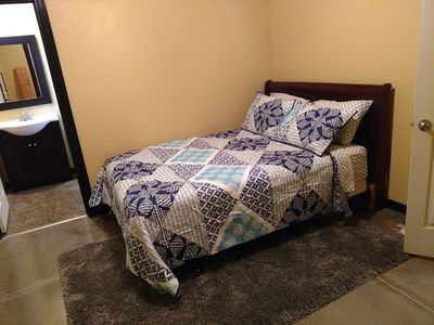 Master Queen Bed With Full Shower Bathroom and Tv.