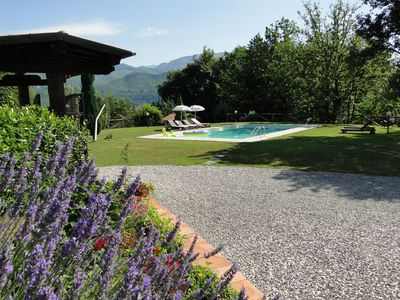 Pool and garden with stunning views