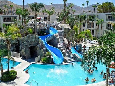 Photo for PALM SPRINGS ~Luxury Studio~ Palm Canyon Resort~ HUGE POOL & SLIDES/HOT TUB