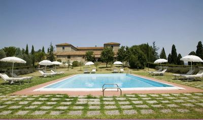 Photo for Private Villa with private pool, WIFI, TV, patio, panoramic view, parking, close to Montalcino
