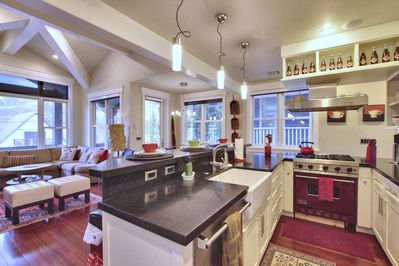 Immaculate gourmet kitchen contemporary finishes & Viking & Sub Zero appliances