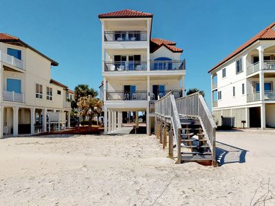 """Photo for Ready after Hurricane Michael! FREE BEACH GEAR! Beachfront East End, Hot Tub, Elevator, Fireplace, Private Boardwalk, 7BR/6BA """"Sunset Palace"""""""
