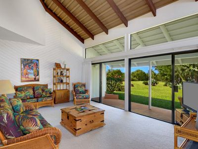 Family room looking out to private backyard
