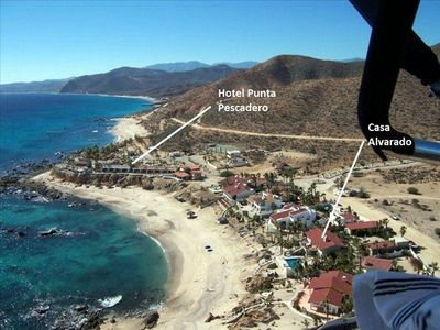 An aerial view of Casa Alvarado, located on a beautiful cove in Punta Pescadero.