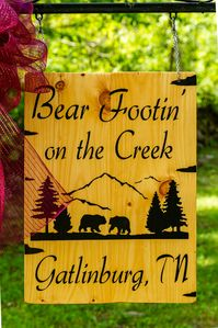 Photo for Over $700 in FREE TICKETS, Private Cabin, Creekside, Screened Porch, Internet, HOT TUB