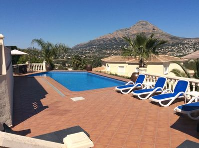 The pool area gets the sun all of the day. There are 3 terraces for sunbathing.