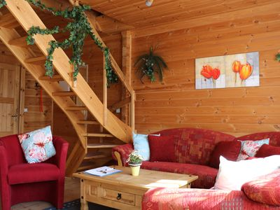 Photo for idyllic log cabin - about 70sqm with fenced garden - dogs willk - WLAN inc