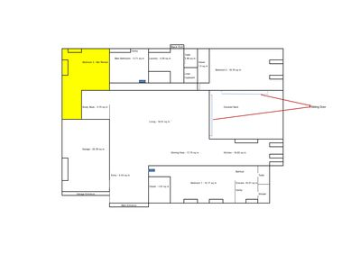 Floor Plan - The yellow shaded area is the only part not available to guests