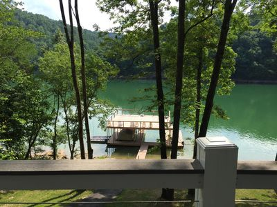 Deck view.  Dock has 1 jet ski dock and slip available.Slide/Jump  on 2nd deck.