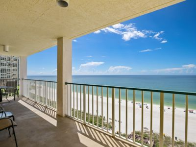 Photo for Luxurious top floor unit with stunning Gulf views from the balcony! Updated and beachfront...walk...