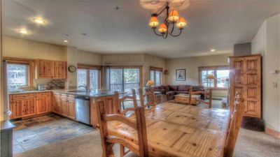 Oversized corner unit. Extra windows with a ton of light. Dining table seats 6.