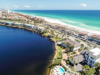 Photo for 8BR - Unobstructed Gulf View Across to Beach, Huge Pool/Spa on Private Lake