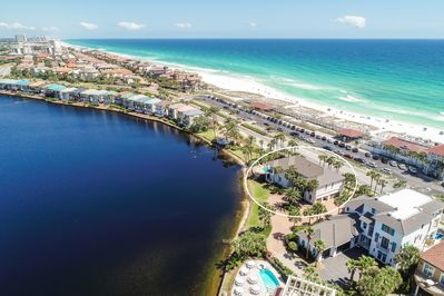 Unobstructed gulf views on a spring fed coastal lake - estate on a 0.5 acre lot