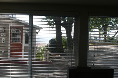 view out front window of beach & lake