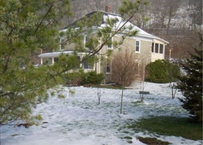House and yard in winter
