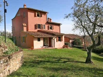 Photo for Apartment with WIFI, pool, TV, patio, washing machine, panoramic view, parking, close to Florence