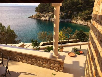 Photo for Stone Villa with Jacuzzi & Private Beach Island Brac Croatia