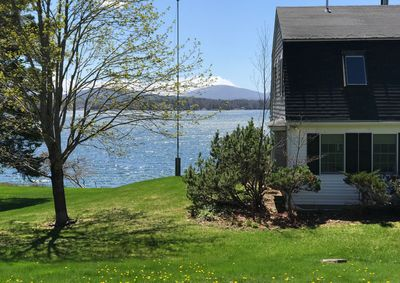 From the front you can see the views and how the home is right on the water.