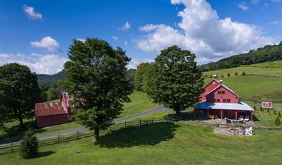 Aerial View of Barn House as visible from the road