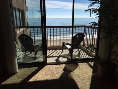 View of the Beach and Ocean from the living room. looks like a postcard!