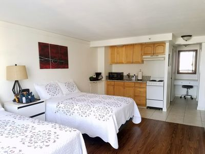 Newly renovated adjoining studio rooms for up to seven guests in Waikiki