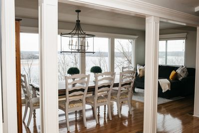 Dining room seats 8 with gorgeous view