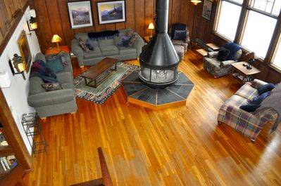 The lodge circular fireplace centers our comfortable living room.