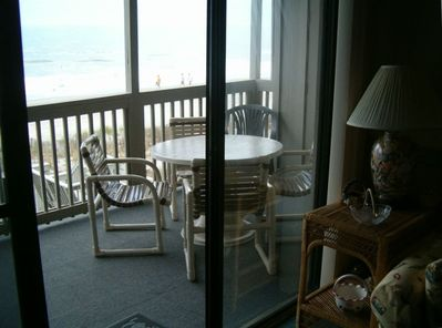View of balcony from inside the condo