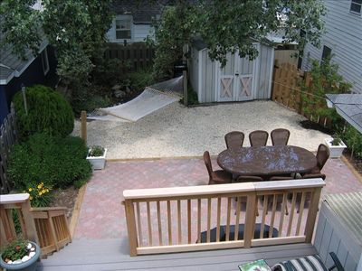 Fenced in Patio & Garden: Hammock, Grill and outdoor dining area