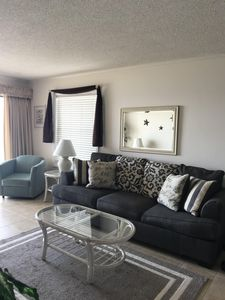 Oceanfront Living Room - New Wall Pictures, New Window Wood Trim  September 2019