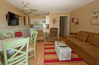 Ocean Dunes 320-Comfortable Living room and kitchen area. - Kitchen and dining area.