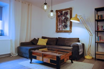 Comfortable corner sofa converts to an extra bed.