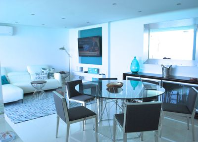 Stunning living/dining area connects to terrace