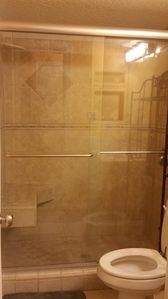 60in tiled shower with seat