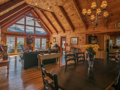 Photo for Valle Crucis One Level Log Cabin, Accessible features, Mountain Views, Fast wifi