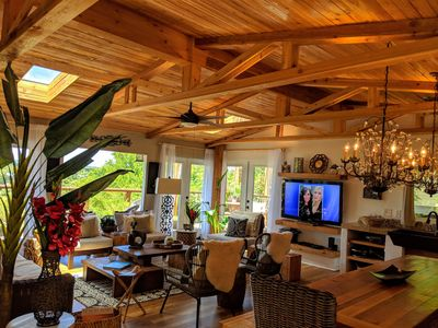 Upper level Penthouse tropical loft. Costa Rican natural warm hues throughout.