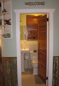 Mate's bathroom...I love this old 5 panel door!  My Uncle Chris gave it to me :)