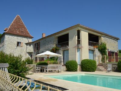 Photo for XVIII restored farmhouse with swimming pool and open view