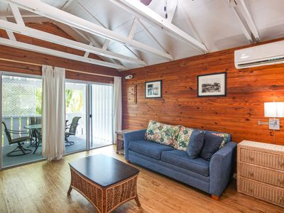 Photo for Charming studio w/ shared pool, covered patio - a block from shopping and dining