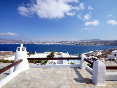 Photo for Villa Space Mykonos, 4 Bedrooms 4 Bathrooms, Private Pool, Up to 10 Guests Facing Mykonos town, Villa Space, enjoys sea and charming town harbor view