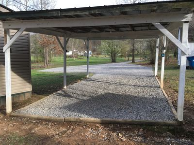 Covered carport with plugs