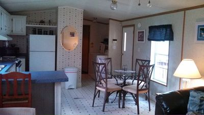 Eat in kitchen off the living room.