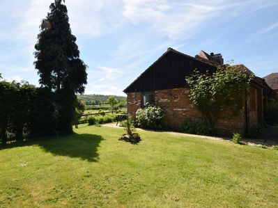View across the garden to the side of the property