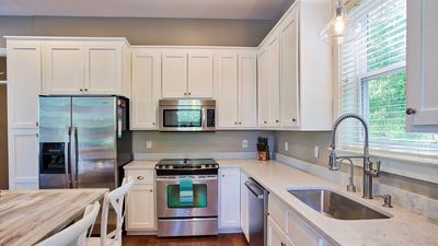 Stainless steel appliances and large sink